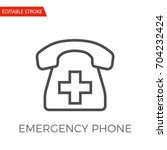 emergency phone thin line... | Shutterstock .eps vector #704232424