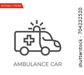 ambulance car thin line vector... | Shutterstock .eps vector #704232520