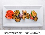 grilled vegetables. on a wooden ...
