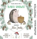 baby shower invitation with... | Shutterstock .eps vector #704237524