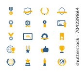 award and honor icon set.... | Shutterstock .eps vector #704239864