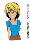 vector   young  smiling women   ... | Shutterstock .eps vector #704240710