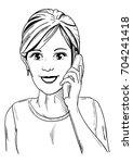 vector   young  smiling women... | Shutterstock .eps vector #704241418