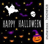 happy halloween card template.... | Shutterstock .eps vector #704248528