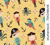 pirate seamless pattern. vector ... | Shutterstock .eps vector #704248648