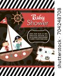 baby shower invitation card... | Shutterstock .eps vector #704248708