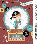 baby shower invitation card... | Shutterstock .eps vector #704248720