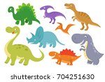 cute cartoon dinosaurs vector... | Shutterstock .eps vector #704251630
