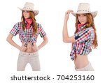 redhead cowgirl isolated on... | Shutterstock . vector #704253160