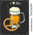 set with hand drawn beer and... | Shutterstock .eps vector #704256394
