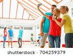high school students on a break ...   Shutterstock . vector #704259379