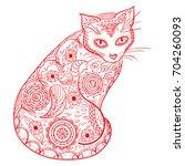 cat. design zentangle. hand... | Shutterstock . vector #704260093
