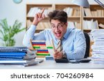 funny accountant bookkeeper...   Shutterstock . vector #704260984