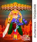 lord rama with demon ravana in... | Shutterstock .eps vector #704266408