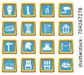 museum icons set in azur color... | Shutterstock .eps vector #704267278