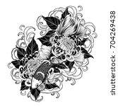 koi fish and chrysanthemum...   Shutterstock .eps vector #704269438