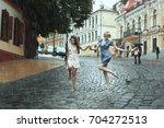 women girlfriends stroll in the ... | Shutterstock . vector #704272513