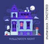 halloween ghost mansion scene... | Shutterstock .eps vector #704273503