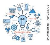 vector blue business idea lamp... | Shutterstock .eps vector #704282779