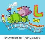 little hippos ride the train  ... | Shutterstock .eps vector #704285398