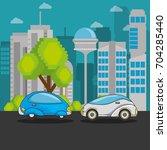 futuristic and modern car design | Shutterstock .eps vector #704285440