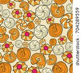 pattern with cookies. all... | Shutterstock .eps vector #704289559