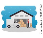 logistic and transportation... | Shutterstock .eps vector #704289760