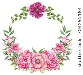 wreath with watercolor lush... | Shutterstock . vector #704295184