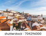 lisbon roof panoramic view on a ... | Shutterstock . vector #704296000