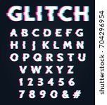 font with glitch effect.... | Shutterstock .eps vector #704296954