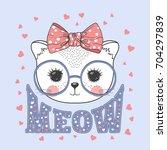 cute little cat girl. kitty...   Shutterstock .eps vector #704297839