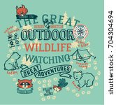 The great outdoor wildlife watching, cute vector print for children wear | Shutterstock vector #704304694