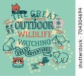 the great outdoor wildlife... | Shutterstock .eps vector #704304694