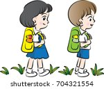 school kids going to school | Shutterstock .eps vector #704321554