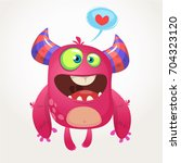 cartoon pink cool monster in... | Shutterstock .eps vector #704323120