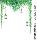 watercolor greenery border with ... | Shutterstock . vector #704324134