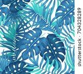 summer hawaiian seamless... | Shutterstock . vector #704328289
