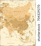 asia map   vintage detailed... | Shutterstock .eps vector #704329270