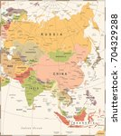 asia map   vintage detailed... | Shutterstock .eps vector #704329288