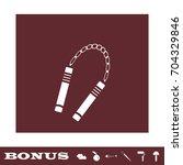 nunchaku weapon icon flat.... | Shutterstock . vector #704329846