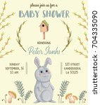 baby shower invitation with... | Shutterstock .eps vector #704335090