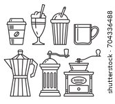 set of icons of coffee...   Shutterstock .eps vector #704336488