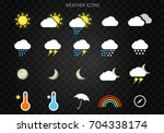 modern weather icons set. flat... | Shutterstock .eps vector #704338174