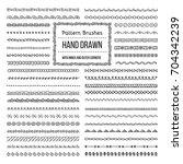 set of vector pattern brushes... | Shutterstock .eps vector #704342239