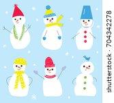 snowmen set for the christmas...   Shutterstock .eps vector #704342278