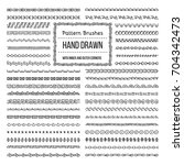 set of vector pattern brushes... | Shutterstock .eps vector #704342473