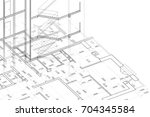 part of abstract architectural... | Shutterstock . vector #704345584