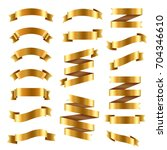 golden ribbon big set | Shutterstock . vector #704346610