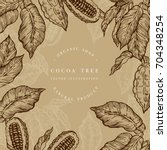 cocoa bean tree design template.... | Shutterstock .eps vector #704348254