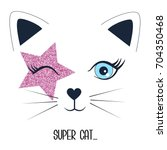 super cat and face cat... | Shutterstock .eps vector #704350468
